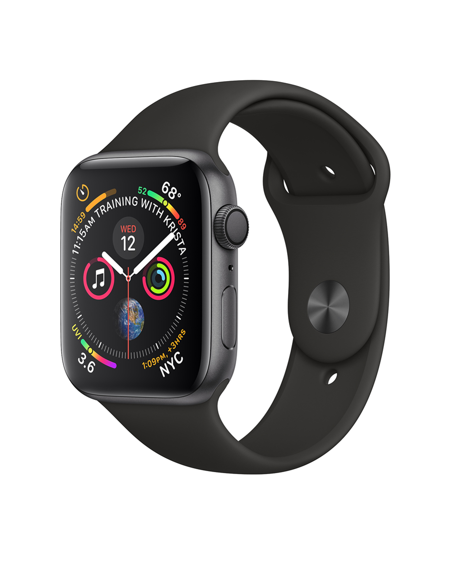 Apple Watch Series 4 44mm GPS Only Space Gray Aluminum Case Black Sport Band