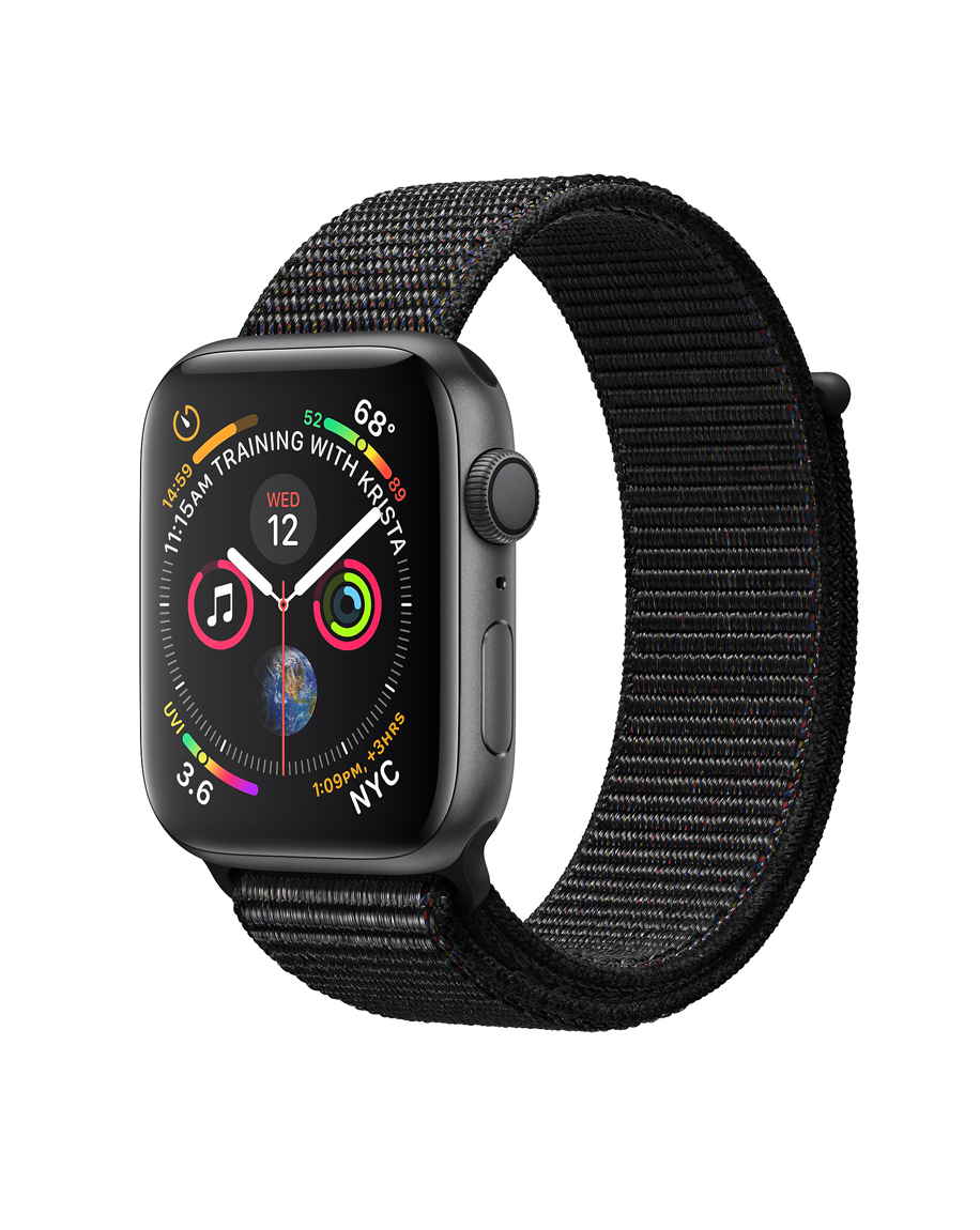 Apple Watch Series 4 44mm GPS Only Space Gray Aluminum Case Black Sport Loop