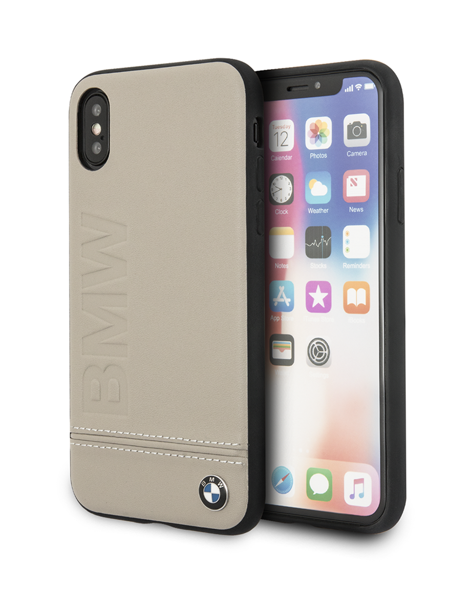 super cute 16fa3 c328a BMW Genuine Leather Hard Case with Imprint Logo for iPhone Xs Max Taupe