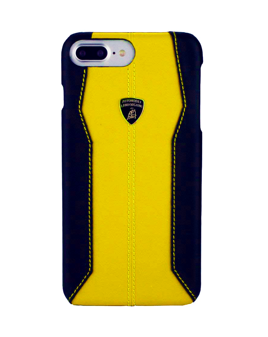 factory price 5e7b3 2b103 Lamborghini Huracan D1 Leather Back case iPhone 8 Plus Yellow