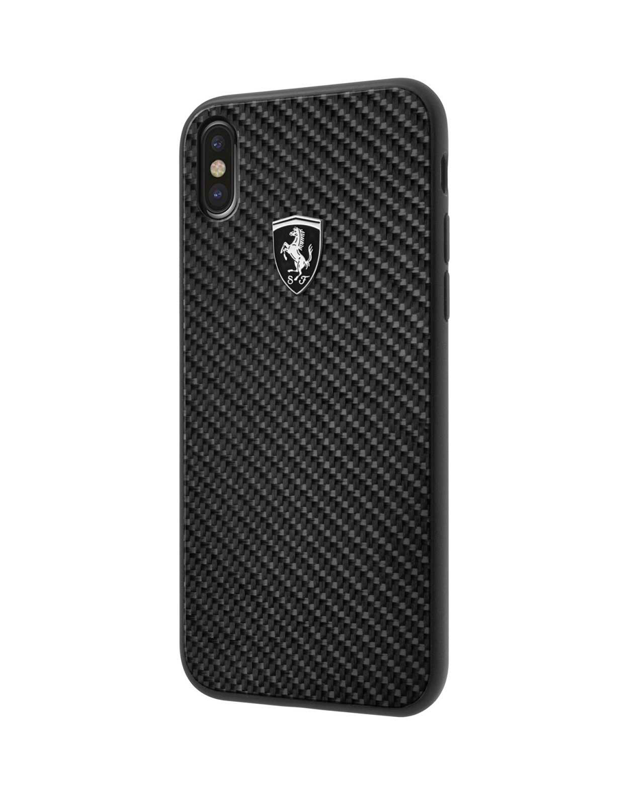 Ferrari Heritage Real Carbon Hard Case for iPhone Xs Max - Black